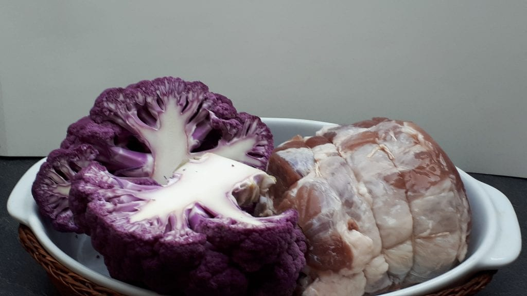 chou fleur et rôti de porc
