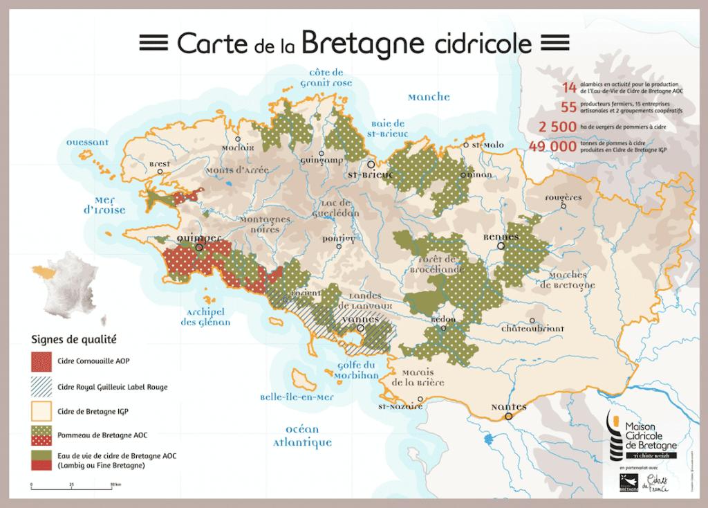 Carte de la Bretagne cidricole